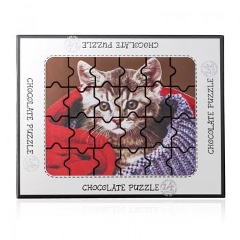 Puzzle z czekolady - kot